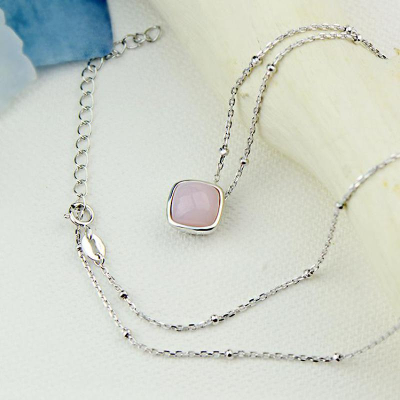 Real 925 Sterling Silver Jewelry Natural Aquamarine Stone Pendant Choker Necklace Chain For Women Pink Color Suqare Shape