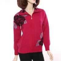 100% козья кашемир толстой вязки Женская мода на молнии с свитер с отложным воротником красная роза 3 вида цветов M 3XL