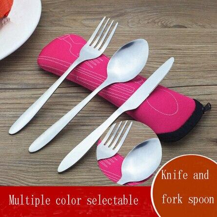 Travel Camping Tableware Cutlery-Tools Fork-Spoon Ourdoor Stainless-Steel Chopsticks