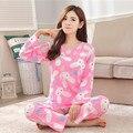 Mujer Pijamas Cartón Conjunto de Tela para Las Mujeres Homewear Pijamas de Las Mujeres Ropa Interior de la Señora encantadora pijamas Lindos para las mujeres Ropa de Dormir