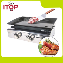 ITOP Outdoor Gas BBQ Plancha Grill 2 Burners Stainless Steel Body Cast Iron Cooking Area