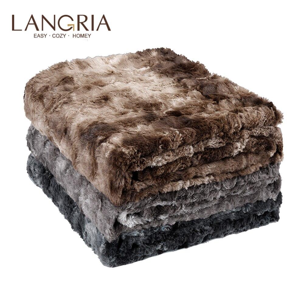 LANGRIA fausse fourrure polaire couverture jeter léger Portable doux couverture lavable en Machine pour la maison voiture bureau chaise avion Camping