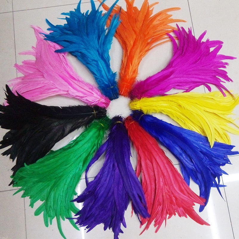 Free shipping 500pcs multi colors beautyful rooster coque tail feathers 30 35cm 12 14 inch DIY cock feather for headdress-in Feather from Home & Garden    1