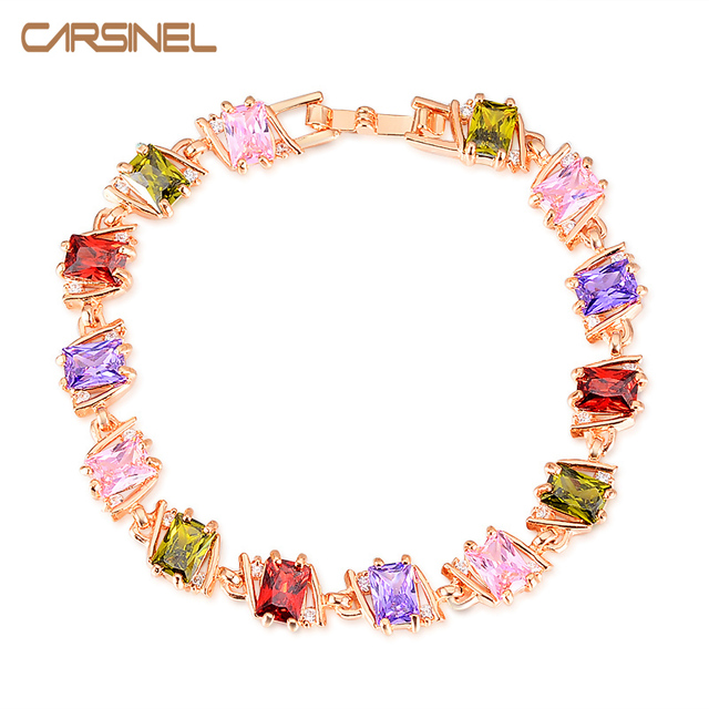 Carsinel Fashion Charming Bracelet Rose Gold Color With Colorful Zirconia Jewelry For Women Gift Party