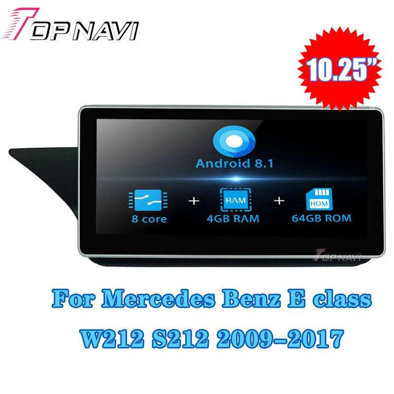 10.25 ''Android 8.1 pour Mercedes Benz classe E W212 S212 2010-2012 voiture GPS Navigation lecteur multimédia Autoradio Autoradio stéréo