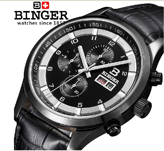 Switzerland watches men luxury brand Wristwatches BINGER Quartz full stainless leather strap steel waterproof 300M BG-0403-4