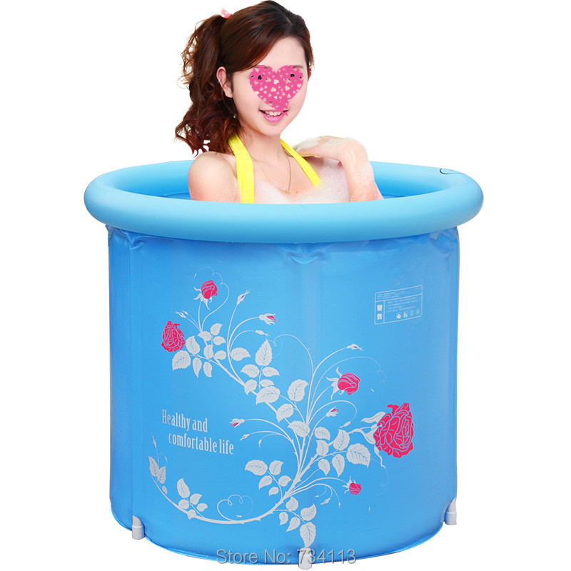 Inflatable tub folding barrel plastic inflatable adult childrens bath tub thickening Portable bathtubs love better home SPA