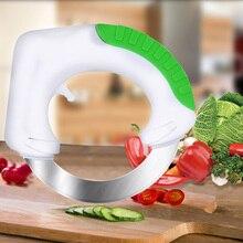 Кухня гаджеты удобный нержавеющей стали измельчитель овощей срез резак Anit нескользящей ручкой и круглый острый нож
