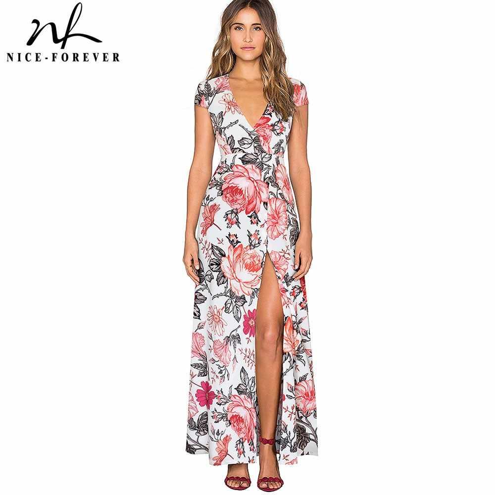 Платье с v-образным вырезом и разрезом, богемное, элегантное, цветочное, сексуальное, женское, макси, вечерние, яркое, летнее, Пляжное, A098
