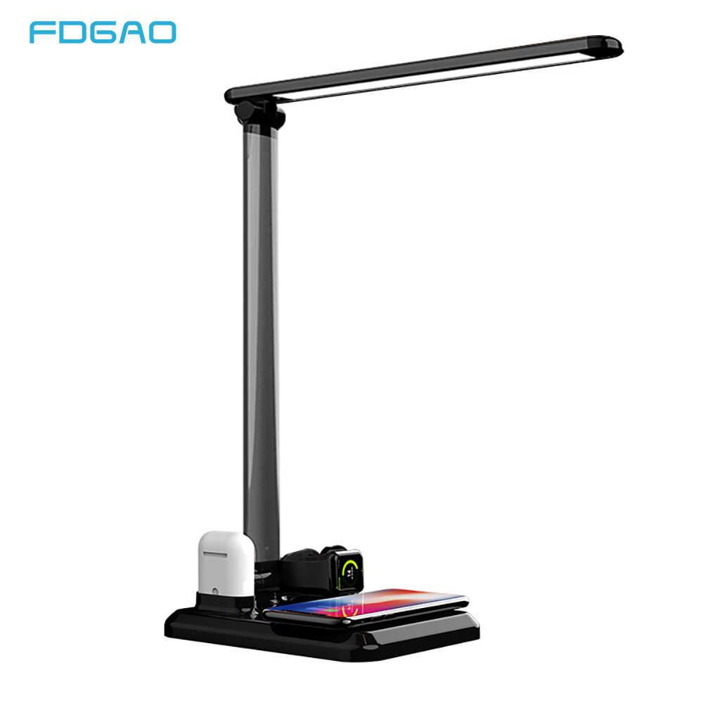 FDGAO 4 in 1 LED Desk Lamp Light Qi Wireless Charger For iPhone XS XR X 8 Apple Watch 4 3 Airpods Samsung S10 S9 S8 USB Adapter