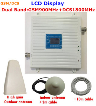 Full Set White 4G DCS 1800MHz 2G GSM 900Mhz Mobile Phone Signal Booster 900 Mhz 1800 Mhz Signal Repeater Amplifier LCD Display
