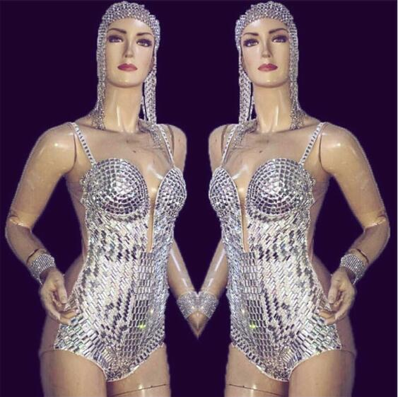 Sexy Silver Rhinestone Bodysuit Women's Birthday Outfit Female Singer - Women's Clothing