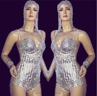 Sexy Silver Rhinestone Bodysuit Women's Birthday Outfit Female Singer Dance Stage Costume Show Clothing Performance Wear