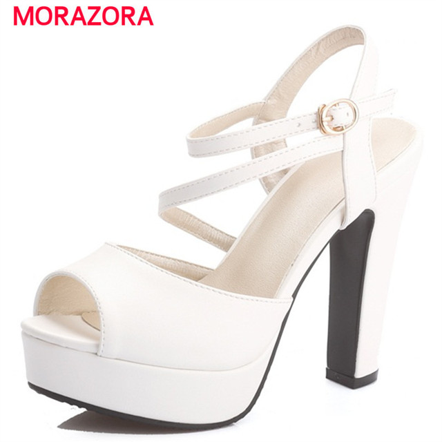 Morazora 2018 Summer Fashion Shoes Woman High Heels Sandals Women Buckle Platform Wedding