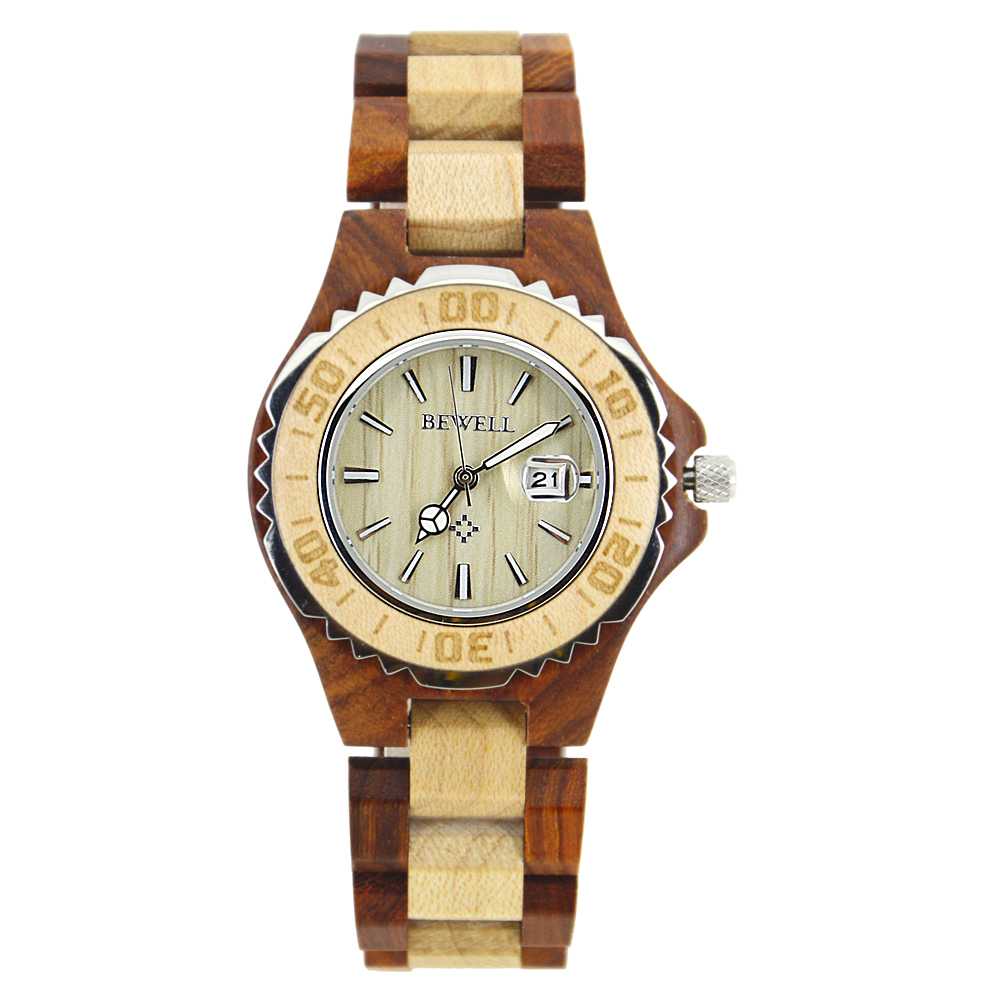 Bewell Cheapest Watches China For Women With Free Shipping 100BL With Date Automatic Wooden Quartz Watch With Luminous Hands free shipping 2017 china cheapest ebike crank motor