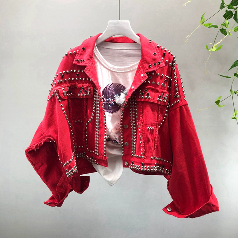 2018 Autumn Women   Basic     Jackets   Rivet Streetwear Oversize Denim Jean   Jackets   For Female Harajuku Red Outerwear Coats z45