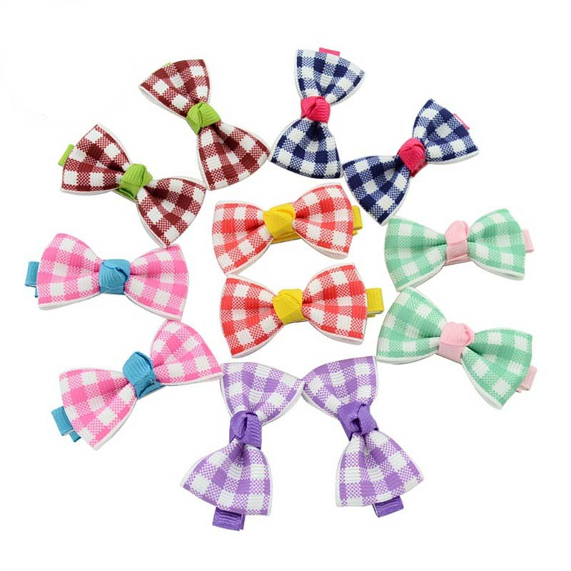1 PCS Sweet Dots Ribbon Bow Clip Floral Candy Hairpin Plaid Barrettes Kids Hair Accessories Headwear Christmas Present 1PCS 5 6pcs lot headwear set children accessories ribbon bow hair clip hairpin rabbit ears for girls princess star headdress t2
