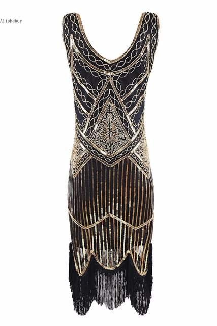 5d598460154 Online Shop Top 2018 Retro 1920s Sequin Fringe Charleston Dress Gatsby Sexy  Women Plus Size Dresses Evening Party Shining Bling Tassel Dress
