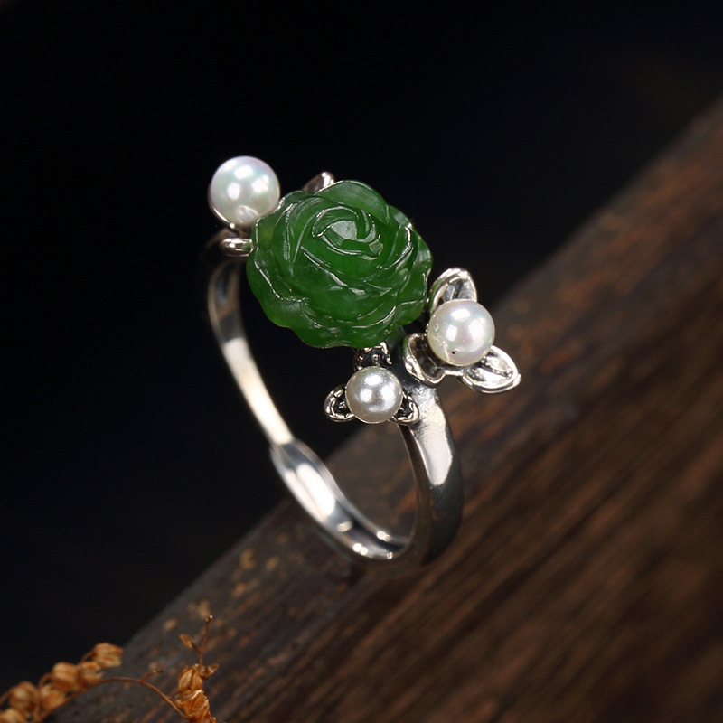 Anel Feminino Rushed Women Rose 2018 New S925 Restoring Ancient Ways Natural Hetian Roses Open Wholesale Ms Sterling Ring 2018 direct selling anel feminino thai restoring ancient ways leading mosaic unique ring wholesale corundum man with ambition