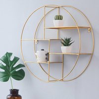 Wrought iron four tier rack round simple gold wall decoration living room creative storage wall hanging LM01171436