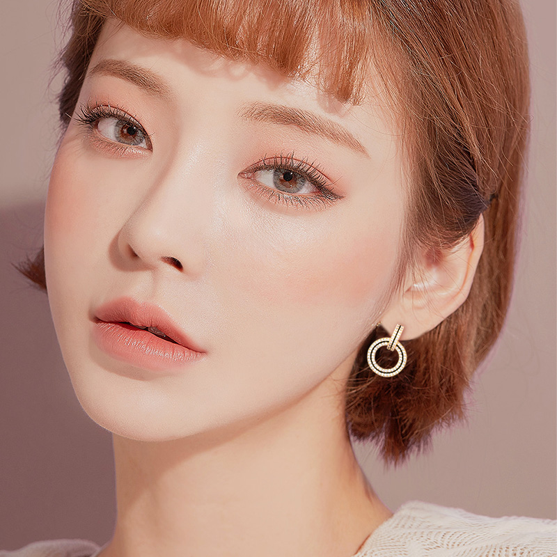 New Fashion Creative Copper Jewelry Elegant Crystal Earrings Round Gold Drop Earrings Wedding Party Dangle Earring for woman in Drop Earrings from Jewelry Accessories