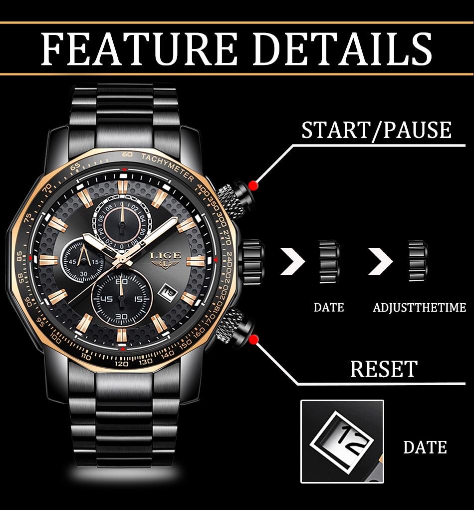 HTB1s.SMa5YrK1Rjy0Fdq6ACvVXaW Relogio Masculino LIGE New Sport Chronograph Mens Watches Top Brand Luxury Full Steel Quartz Clock Waterproof Big Dial Watch Men