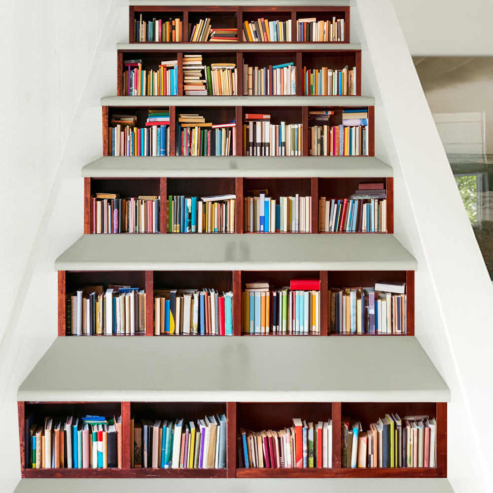 High Quality 3d Bookcase Diy Stairs Art Mural Sticker Step