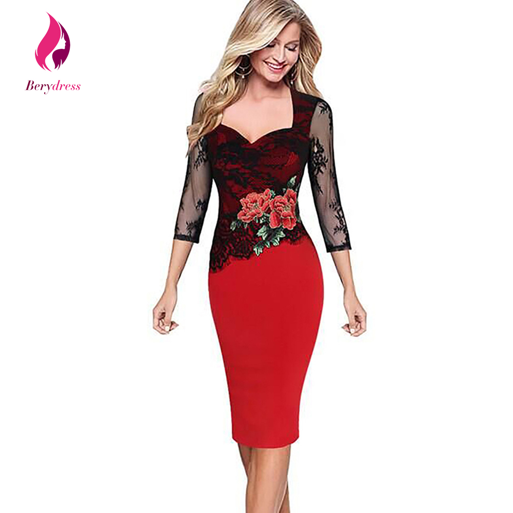 Berydress 2017 Floral Women Dress with 3/4 Sleeves Special Occasions Evening Party Dresses Bodycon Clothing Plus Size Lace Dress
