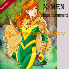 Free Shipping DHL X-Men Hope Summers Costume Yellow And Green Lycra Spandex Catsuit Superhero Cosplay Costume Without Cloak
