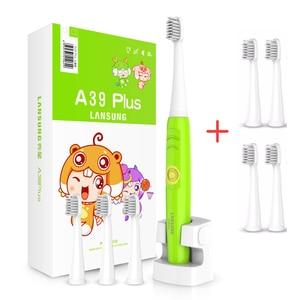 Image 1 - LANSUNG Kind Eectric Zahnbürste Mit 8 Köpfe Sonic Zahnbürste Kinder 3C Ultra sonic Zahn Pinsel Wiederaufladbare 220V