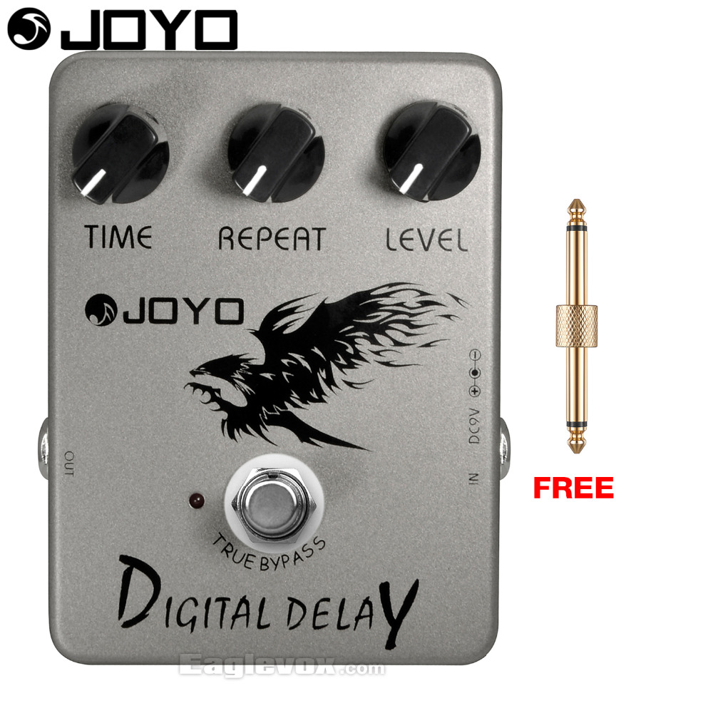 JOYO Digital Delay Electric Guitar Effect Pedal True Bypass JF-08 with Free Connector joyo jf 304 new product time magic delay mini smart effect pedal analog sounding digital delay 600ms ture bypass free shipping