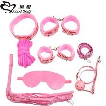 7 pcs/set  Nylon & Plush Erotic Sex Toys For Adults Handcuffs Whip Mouth Gag Mask Bdsm Bondages Set Adult Game
