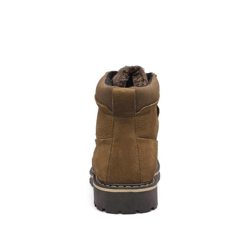Roxdia Plus Size 39-50 Nam Da Thật Chính Hãng Giày Người Giày Lông Nam Mùa Đông Giày Ấm Ủng chống Thấm Nước Làm Việc RXM428