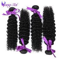 Yongtai Brut Cheveux Indiens Profonde Bouclés Cheveux 4 Bundles Offre 100% de Cheveux humains Weave Bundles Naturel Noir Non Remy Cheveux Extensions 4 Pcs