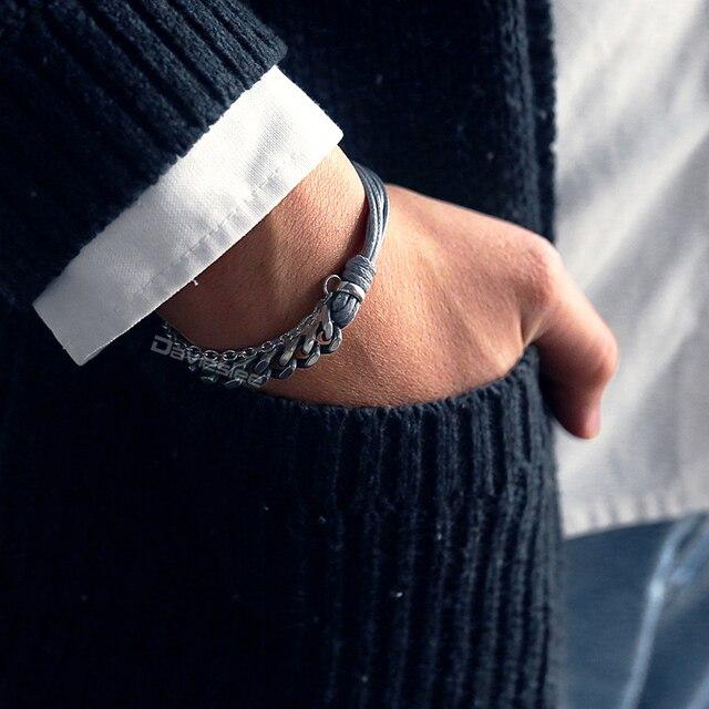Davieslee New Male Bracelet Curb Cuban Link Chain Leather Bracelets For Men Stainless Steel Mens Bracelet Jewelry Gift DDLBM02