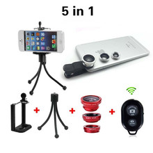 5in1 Cell Cellphone Digital camera Package 3in1 Lens Fisheye + Huge Angle + Macro Lenses Bluetooth Distant With Tripod For iphone Samsung HTC