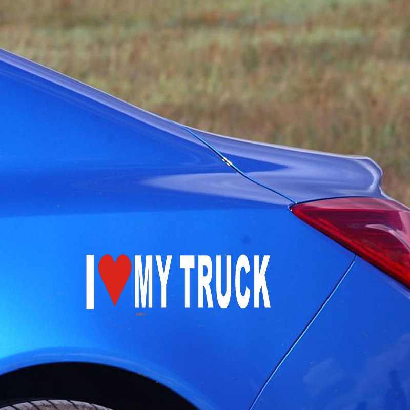 5 Pieces Waterproof Truck Vinyl Stickers 18*5cm Car Styling Car Stickers Creative I Love My Truck Reflective White Color