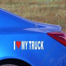 Pegatinas de vinilo impermeables para camiones, adhesivos de 18x5cm con estilo para coche, creativo, amo mi camión, color blanco reflectante, 5 piezas