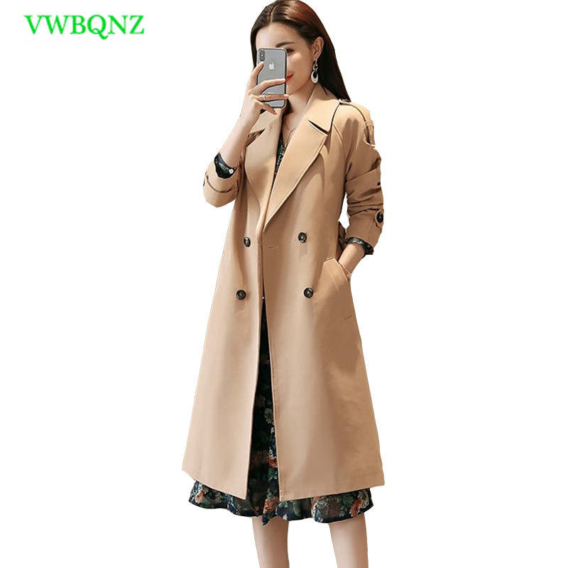 Plus size Windbreaker coat Korean Women Spring High quality Slim Long   Trench   Coat Women's Double-breasted Top Coats 4XL A160
