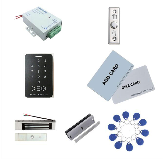 Access control kit,access control+ power+180kg magnetic lock+180kg U-Shape+exit button+2 manage card,10 keyfob ID tags,sn:set-4