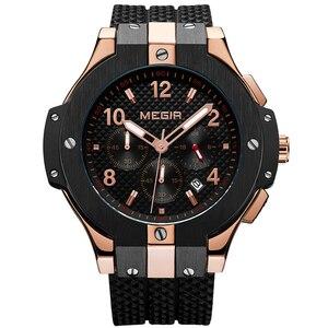 Image 2 - MEGIR Brand Men Watch Quartz Watch Gold Rubber Band 3ATM Water Resistant Chronograph Mens Quartz Wrist Watch