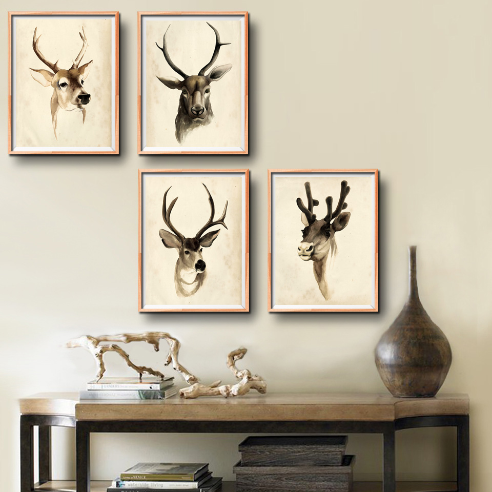 online get cheap modern collage frames aliexpresscom  alibaba group - animal elk cute cartoon abstract art canvas poster collage painting picturemodern home wall decoration no