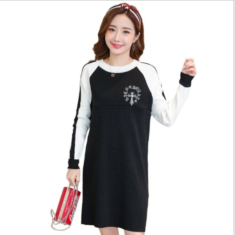 Breast feeding dress 2018 Korean autumn maternity fashion out sweater knit bottoming shirt pregnant women dress