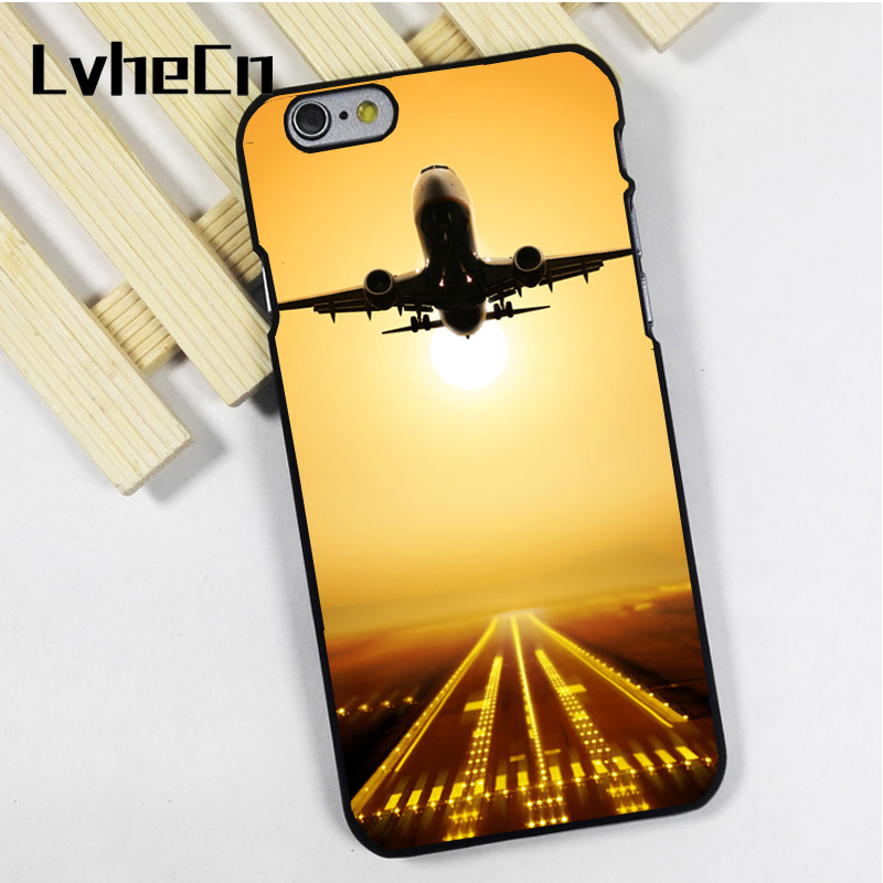 LvheCn phone case cover fit for iPhone 4 4s 5 5s 5c SE 6 6s 7 8 plus X ipod touch 4 5 6 back skins Airplane Take Off Sunset