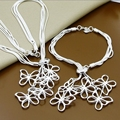 925 Stamped Silver Plated Fashion Jewelry Sets Snake Chain Five Butterfly Necklace Bracelet Jewelry For Women T012