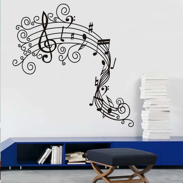 Music Note Wall Decals Musical Wall Art Mural Graffiti Wall Stickers  Removable M Wallpaper Diy Home
