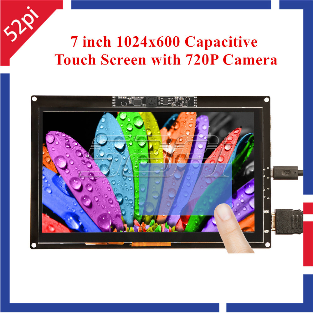 52Pi Free Driver 7 inch 1024x600 Capacitive Touch Screen Display with 720P Camera for Raspberry Pi/Windows/Beaglebone Black 52pi 7 inch 1024 600 free driver tft display capacitive touch screen monitor for raspberry pi win beaglebone black plug and play