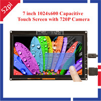 52Pi Free Driver 7 inch 1024x600 Capacitive Touch Screen Display with 720P Camera for Raspberry Pi/Windows/Beaglebone Black