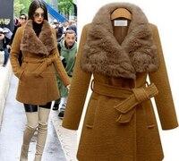 Women Fashion Warm Wool Blend Wide Waisted Turn Down Fur Collar Belt Coat Jacket Outwear Winter Plus Size Slim Coats