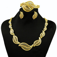 Sexemara big African jewelry sets for women feather necklace wedding fashion high quality free shipping gold color new design